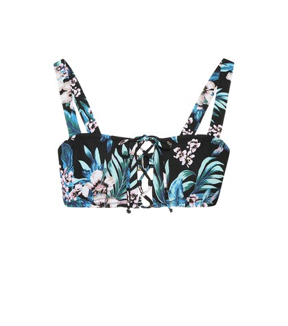 Floral-printed bikini top