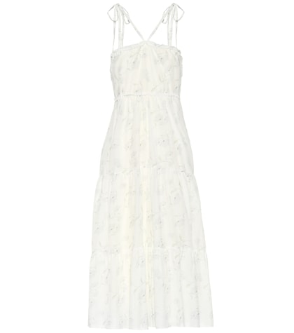 Romance In The Wind printed cotton and silk dress