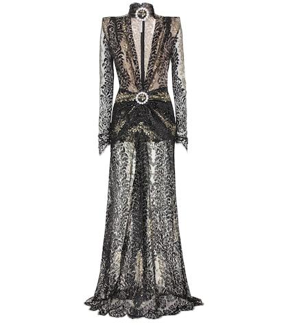 Robe longue en dentelle guipure à cristaux