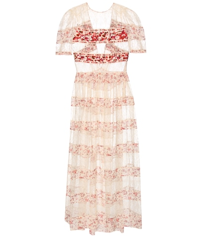 Embroidered lace and printed silk dress
