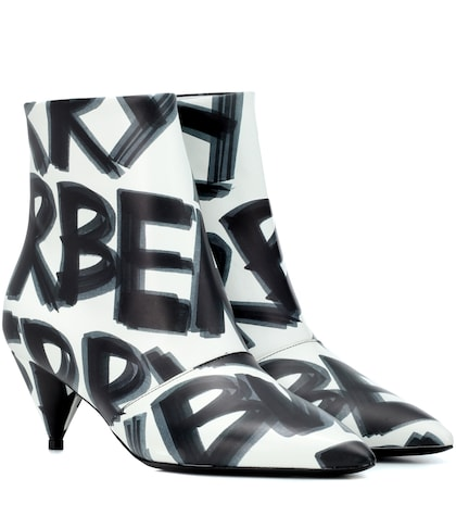 Graffiti leather ankle boots