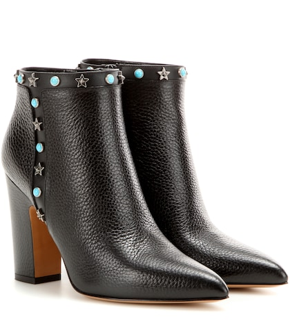 Starstudded Leather Ankle Boots