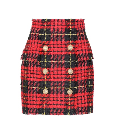 Plaid tweed mini skirt