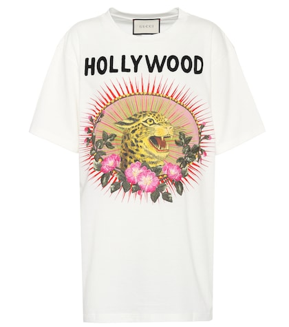 Printed and embroidered cotton T-shirt