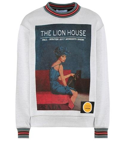 Printed cotton-blend sweatshirt