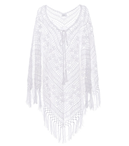 Tassel crocheted cotton poncho