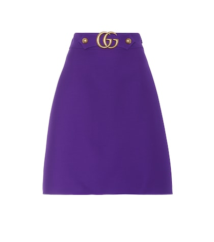 Wool and silk A-line skirt