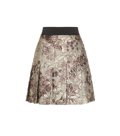 Metallic Jacquard Pleated Skirt