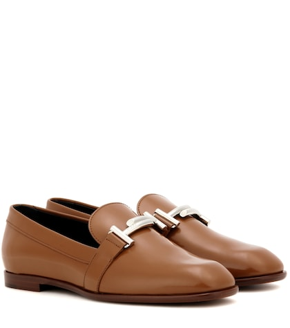 tods female double t leather loafers