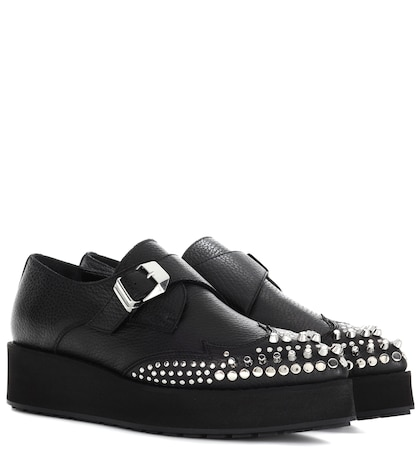 mcq alexander mcqueen female black manor creeper monkstraps leather shoes