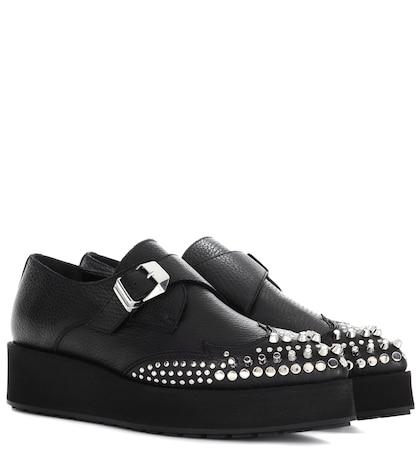 Black Manor Creeper Monkstraps Leather Shoes