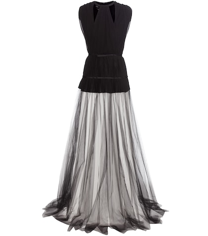giambattista valli female pleated silkcrepe and tulle dress