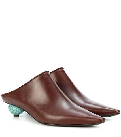 Egg Heel leather mules