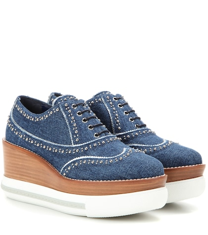 Platform denim Oxford shoes