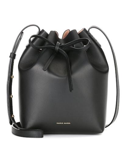 mansur gavriel female mini bucket leather crossbody bag