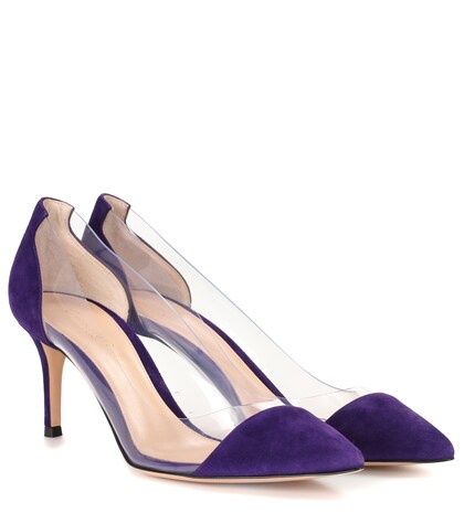 Plexi suede pumps