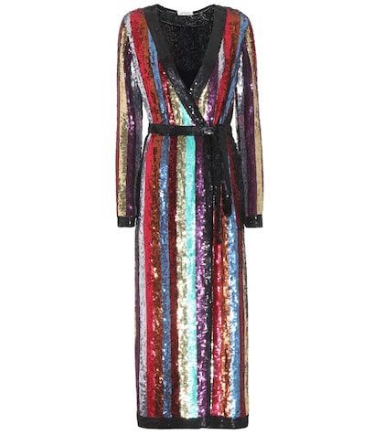 Sequin-embellished wrap dress