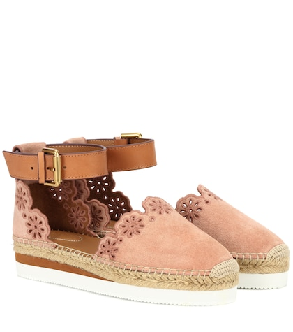 Suede and leather espadrilles
