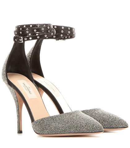 valentino female valentino garavani love latch crystal fabric pumps
