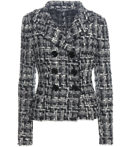 dolce gabbana female wool and cottonblend tweed jacket