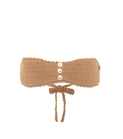Crochet-knit bandeau bikini top