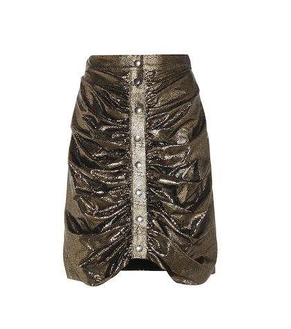Metallic Silk Ruched Miniskirt