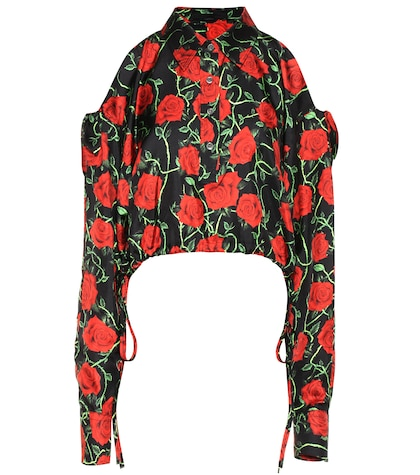 alexander wang female printed silk top