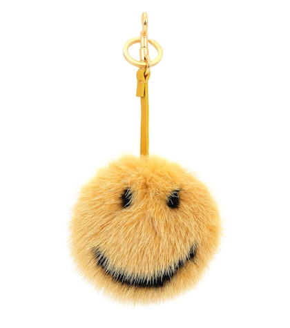 Smiley mink fur bag charm
