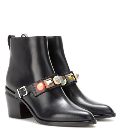 fendi female embellished leather ankle boots