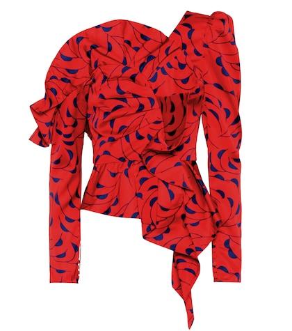 Printed satin one-shoulder top