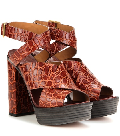 chloe female embossed leather sandals