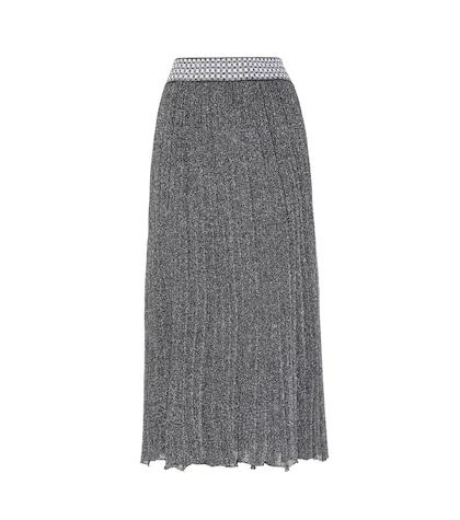Knitted metallic wool-blend skirt