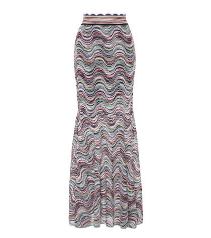 Striped metallic skirt