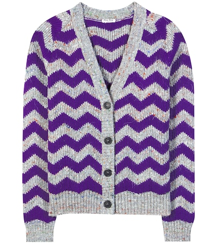 Chevron Wool-blend Knitted Cardigan