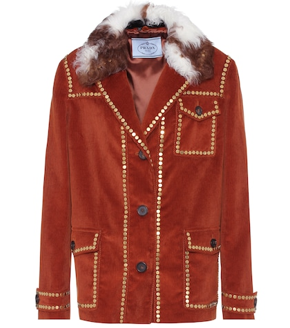 Shearling-trimmed corduroy jacket