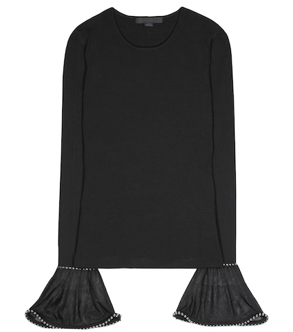 alexander wang female embellished poetsleeved top
