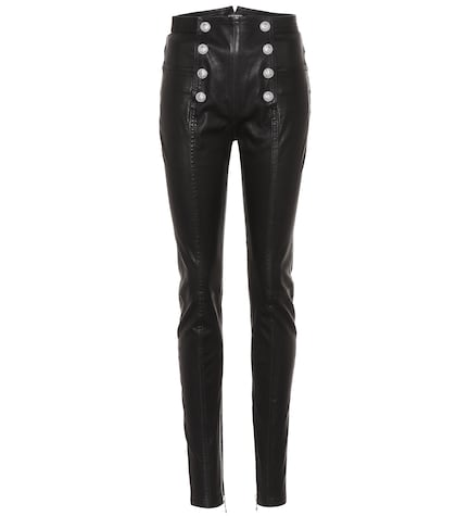 High-waisted skinny leather trousers
