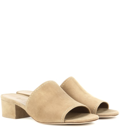 loro piana female loa slipon suede sandals