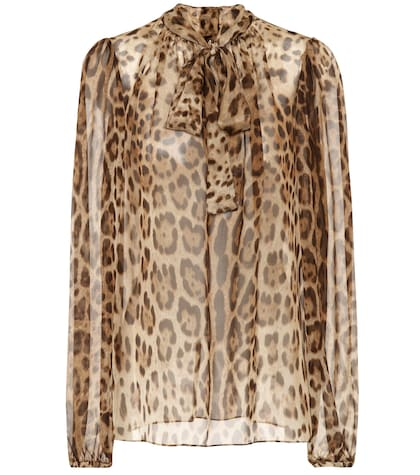 Leopard-printed silk shirt