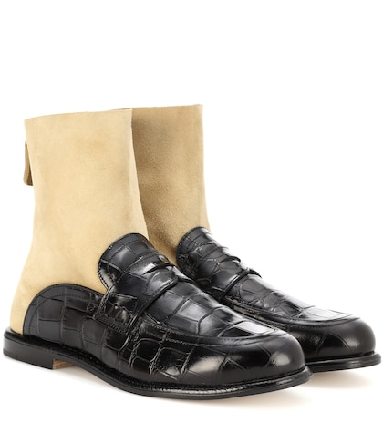 Sock leather boot loafers