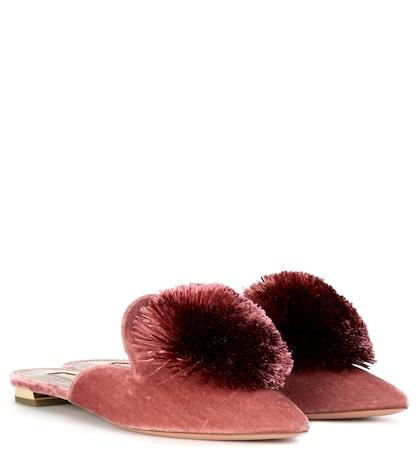 Powder Puff velvet slippers