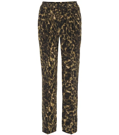 Leopard-printed silk pants