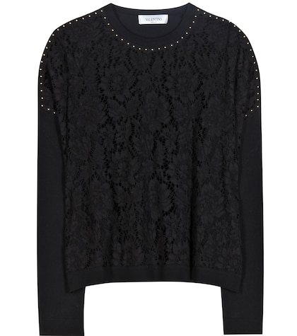 Embellished Lace And Jersey Sweater