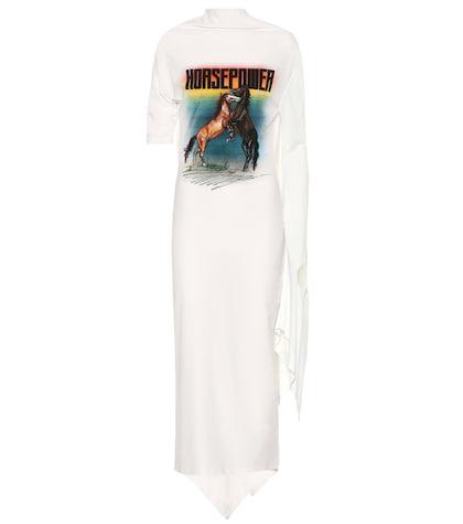 Robe asymétrique en satin imprimé