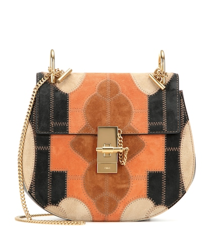 Drew Small Flower Patchwork Leather And Suede Shoulder Bag