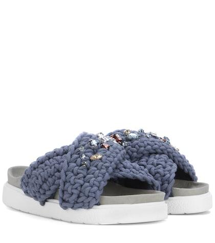 Slip-on embellished sandals