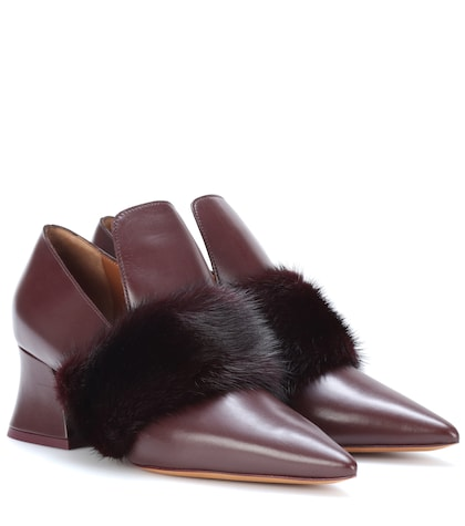 Mink fur-trimmed leather pumps