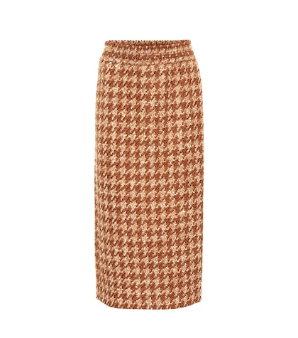 Houndstooth wool-blend tweed skirt