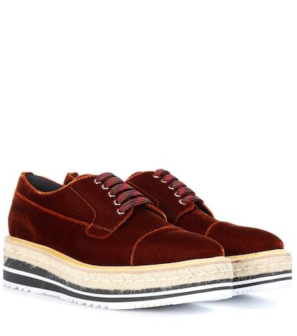 Platform velvet Derby shoes
