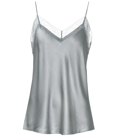 Silk satin lace-trimmed camisole